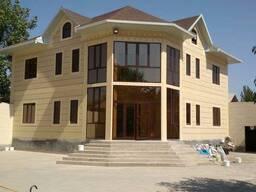 Наружная отдела фасада домов жидким травертином