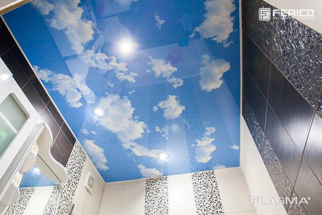 Натяжной потолок небо с облаками в Бишкеке